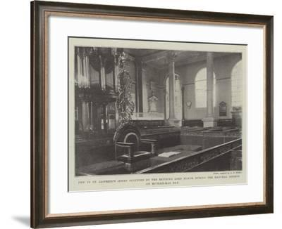 Pew in St Lawrence Jewry Occupied by the Retiring Lord Mayor During the Mayoral Sermon on Michaelma--Framed Giclee Print