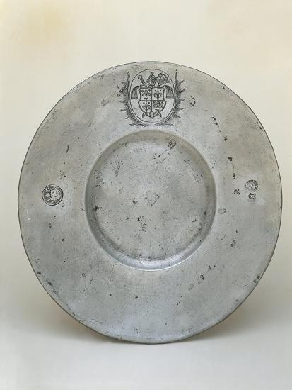 Pewter Plate with Coat of Arms of Bishop Adrian III or IV of Riedmatten--Giclee Print