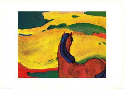 Pferd in Landschaft-Franz Marc-Art Print