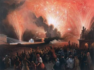 Coronation Fireworks in Moscow, 1856