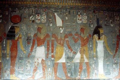 Pharaoh Horemheb with the Goddess Isis and the God Horus, Ancient Egyptian, 14th Century Bc--Photographic Print
