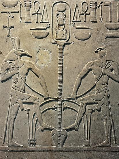 Pharaoh Sesostris I Statue, Details from Throne Depicting Horus and Seth, from Al Lisht, Egypt--Giclee Print