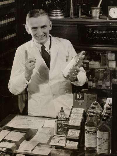 Pharmacist With Medicine-George Marks-Photographic Print