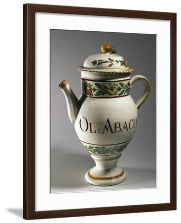 Pharmacy Jug with Lid Decorated with Plant Motifs, Ceramic--Framed Giclee Print