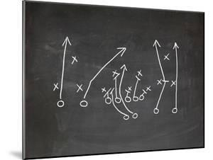 Football Play Strategy Drawn Out On A Chalk Board by Phase4Photography