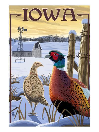 Pheasants - Iowa-Lantern Press-Art Print