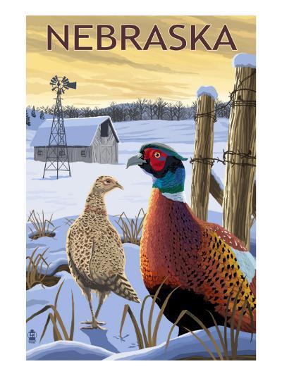 Pheasants - Nebraska-Lantern Press-Art Print