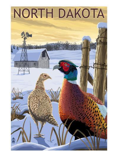 Pheasants - North Dakota-Lantern Press-Art Print