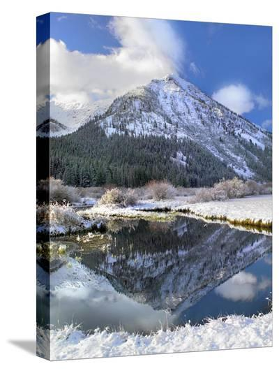 Phi Kappa Mountain reflected in river, Idaho-Tim Fitzharris-Stretched Canvas Print