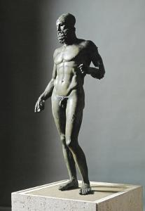 Riace Bronze (B), Statue of a Young Man with Helmet by Phidias