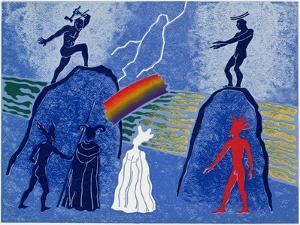 Donner and Froh Make Rainbow Bridge for Gods to Cross to Valhalla: Illustration for 'Das Rheingold' by Phil Redford