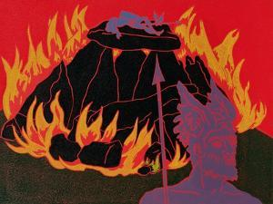 Flames Rise, Wotan Sadly Leaves His Beloved Daughter: Illustration for 'Die Walkure' by Phil Redford