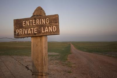 A Road Sign Indicating Private Property Near the Oglala National Grassland