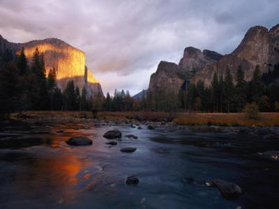 Evening Sun Lights Up El Capitan and the Merced River by Phil Schermeister