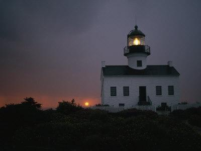 Sunset Picture of the Old Point Loma Lighthouse, San Diego, California