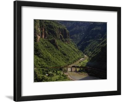 Train Crosses a Bridge at Temoris in Mexico's Copper Canyon Region, Chihuahua State, Mexico