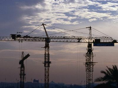 Construction Site Cranes at Sunset, Dubai, United Arab Emirates