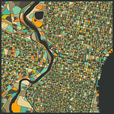 Philadelphia Map-Jazzberry Blue-Art Print