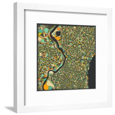 Philadelphia Map-Jazzberry Blue-Framed Art Print