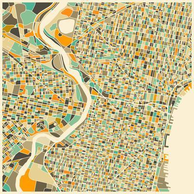photograph regarding Printable Maps of Philadelphia identified as Philadelphia Map Artwork Print by way of Jazzberry Blue