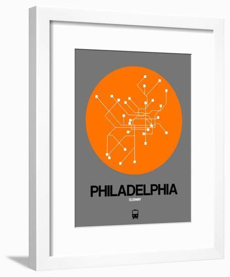 Philadelphia Orange Subway Map-NaxArt-Framed Art Print