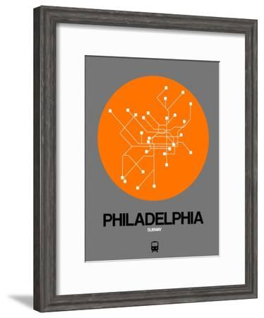 Philadelphia Orange Subway Map-NaxArt-Framed Art Print