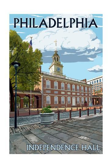 Philadelphia, PA - Independence Hall-Lantern Press-Art Print