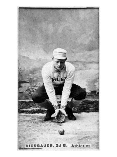 Philadelphia, PA, Philadelphia Athletics, Lou Bierbauer, Baseball Card-Lantern Press-Art Print