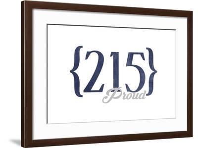 Philadelphia, Pennsylvania - 215 Area Code (Blue)-Lantern Press-Framed Art Print