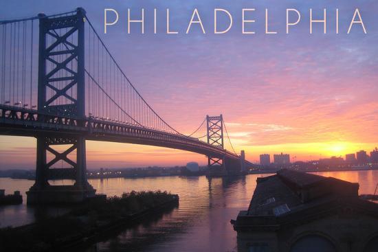 Philadelphia, Pennsylvania - Ben Franklin Bridge-Lantern Press-Wall Mural