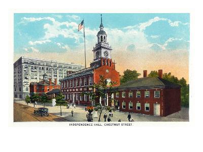 Philadelphia, Pennsylvania - Independence Hall from Chestnut Street-Lantern Press-Art Print