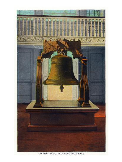 Philadelphia, Pennsylvania - Independence Hall Liberty Bell Scene-Lantern Press-Art Print