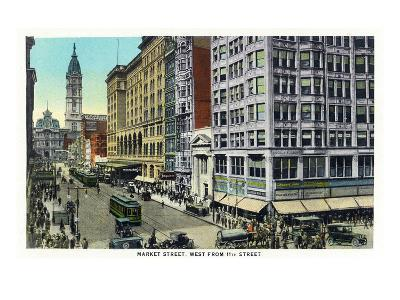Philadelphia, Pennsylvania - Market Street West from 11th Street-Lantern Press-Art Print