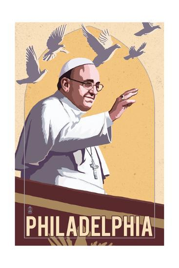 Philadelphia, Pennsylvania - Pope and Doves - Lithography Style-Lantern Press-Art Print