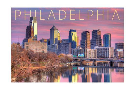 Philadelphia, Pennsylvania - Skyline and River Sunset-Lantern Press-Art Print