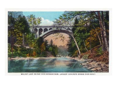 Philadelphia, Pennsylvania - Walnut Lane Bridge over Wissahickon River-Lantern Press-Art Print