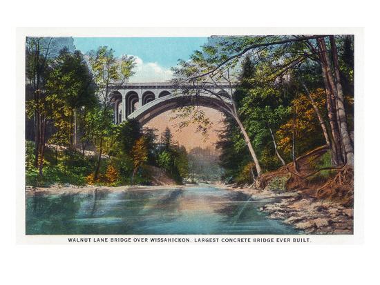 Philadelphia, Pennsylvania - Walnut Lane Bridge over Wissahickon River-Lantern Press-Art Print