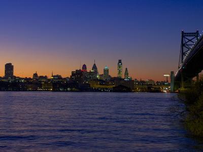 Philadelphia Skyline at Dusk-James Shive-Photographic Print