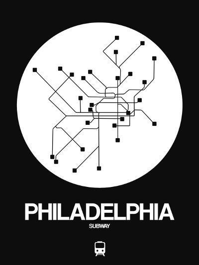 Philadelphia White Subway Map-NaxArt-Art Print