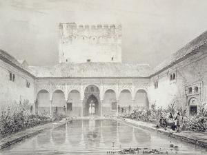 Pool and Fountain in the Courtyard of the Alberca by Philibert Joseph Girault de Prangey