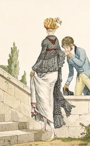 Elegant Lady's Walking Dress with Check Cape, 1789 by Philibert Louis Debucourt