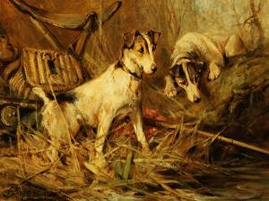 Two Smooth-Haired Fox Terriers by a Fishing Rod and a Creel on a Riverbank by Philip Eustace Stretton