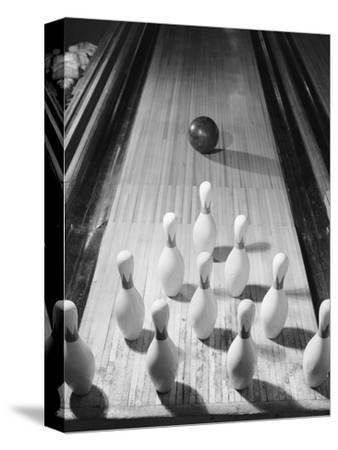 Bowling Ball Heading Toward Pins