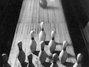 Bowling Ball Rolling Toward Pins by Philip Gendreau