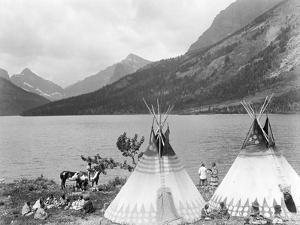 Teepee,Indians on Shore of Lake by Philip Gendreau