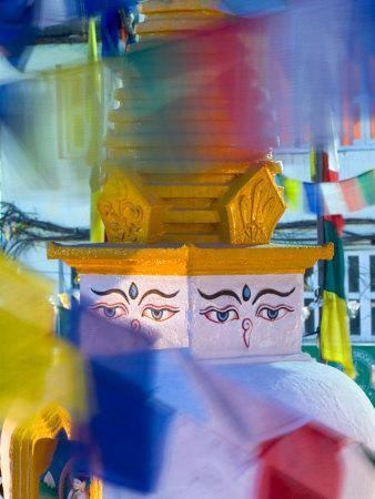 Buddhist Stupa Viewed Through Prayer Flags at Night, Kathmandu, Nepal