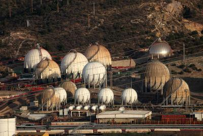 Fuel and Gas Storage Tanks at an Oil Refinery