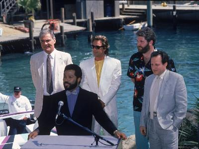 Philip Michael Thomas and Don Johnson at a Press Conference for Miami Vice-Kevin Winter-Premium Photographic Print