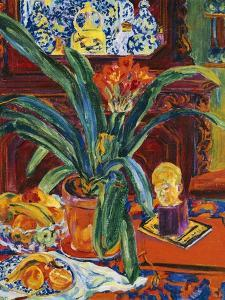 Still Life with a Pot Plant, Fruit and a Small Sculpture, circa 1920 by Philipp Bauknecht