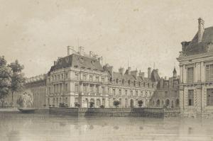 Souvenirs de Fontainebleau : Cour de la Fontaine, vue prise de l'avenue de Maintenon vers 1860 by Philippe Benoist